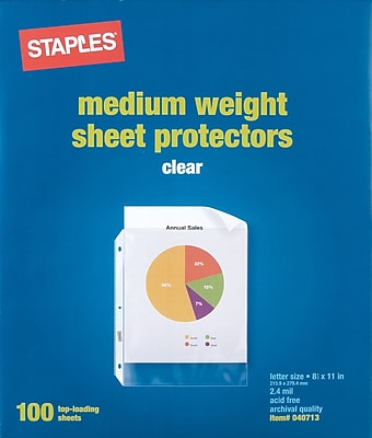Staples® Standard Sheet Protectors, 100/Pack