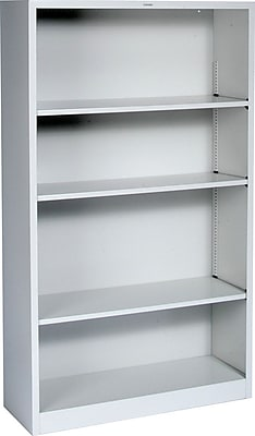 HON® Brigade Steel Bookcase, Light Gray, 4-Shelf, 59