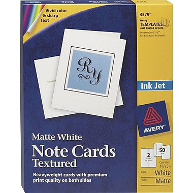 Avery® Textured Inkjet Notecards, White, Uncoated, 50 Pack