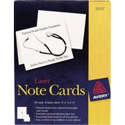 Avery® Laser Notecards, White, Uncoated, 60 Pack
