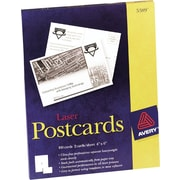 Avery® Laser Postcards, Heavy Card Stock, White, 100/Box (05389)