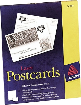 Avery Laser Postcards, White, 4