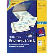 "Avery® Inkjet Business Cards, Ivory, 2"" x 3 1/2"", 250/Cards"