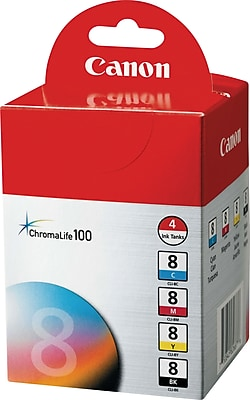 Canon CLI-8 Black and C/M/Y Color Ink Cartridges (0620B010), Combo 4/Pack