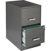 "Office Designs Vertical File Cabinet, 22"" Deep 2-Drawer, Letter Size, Metallic Charcoal"