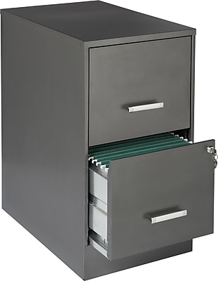 Office Designs 2 Drawer Vertical File Cabinet, Metallic Charcoal, Letter, 22