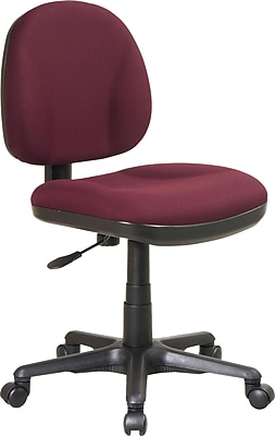 Office Star™ Fabric Computer and Desk Office Chair, Burgundy, Armless Arm (8120-227)