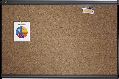 Quartet® Prestige® Colored Cork Bulletin Board, 3' x 2', Graphite Finish Frame