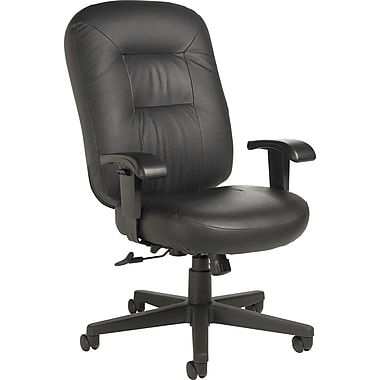 Staples® High-Back Leather Manager's Chair, Black