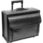 "Solo Classic 16"" Laptop Leather Rolling Catalog Case, Black, D978-4"