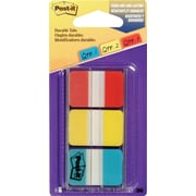 Post-it® Durable Index Tabs, Red, Yellow & Blue, 66/Pack