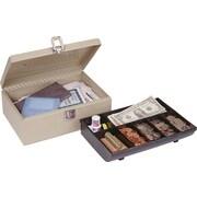 "MMF Industries™ STEELMASTER® Cash Box with Locking Latch, Sand, 4""H x 11""W x 7 3/4""D"