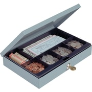 "MMF Industries™ STEELMASTER® Cash Box with Security Lock, Gray, 2"" x 11 1/4"" x 7 1/2"""