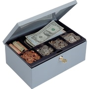 "MMF Industries™ STEELMASTER® Cash Box with Security Lock, Gray, 4 2/8""H x 11 1/4""W x 7 1/2""D"