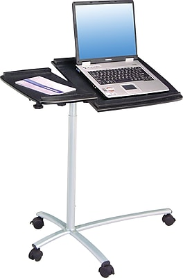 Techni Mobili Sit-to-Stand Rolling Adjustable Laptop Cart, Graphite