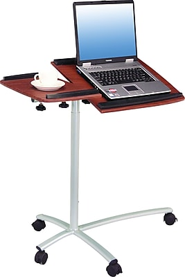 Techni Mobili Sit-to-Stand Rolling Adjustable Laptop Cart, Mahogany