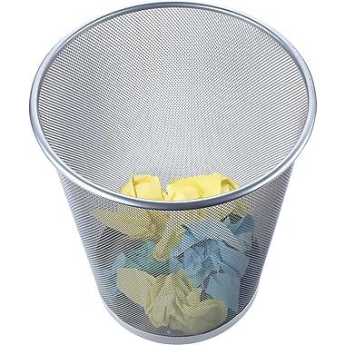 Staples® Metal Mesh Wastebasket, Silver