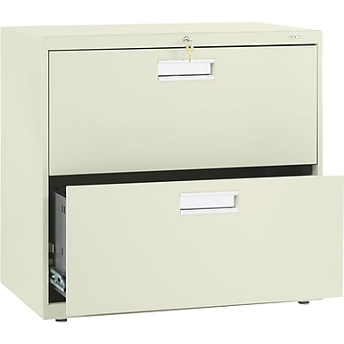 HON Brigade 600 Series Lateral File Cabinet, A4/Legal/Letter, 2-Drawer, Putty, 19 1/4