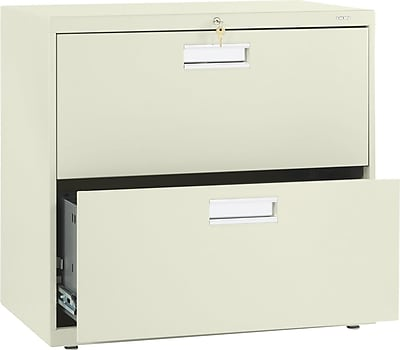 HON Brigade 600 Series 2 Drawer Lateral File Cabinet, Letter, Putty, 30