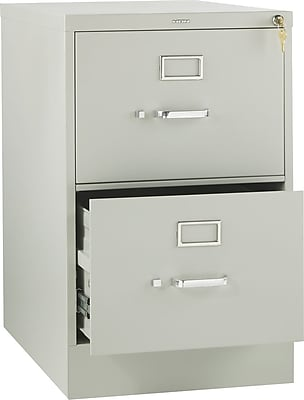 HON 310 Series 2 Drawer Vertical File Cabinet, Legal, Light Gray, 26 1/2