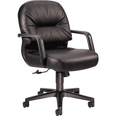 HON Pillow-Soft Leather Executive Office Chair, Fixed Arms, Black (H2092SR11T.COM)