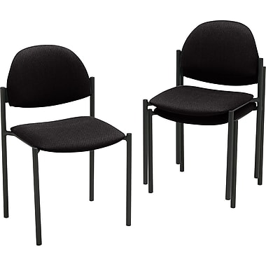 Global Comet Armless Stacking Chair, Black Fabric