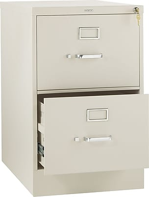 HON 310 Series 2 Drawer Vertical File Cabinet, Legal, Putty, 26-1/2