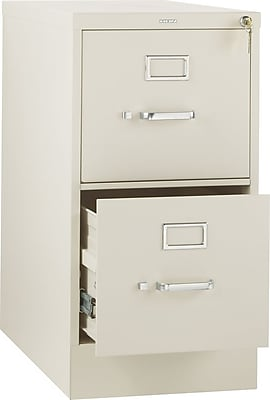 HON 310 Series 2 Drawer Vertical File Cabinet, Letter, Putty, 26-1/2