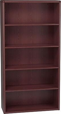 HON 10700 Series Bookcase, Mahogany, 5-Shelf, 69.22