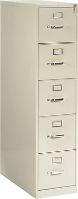 HON® 210 Series 5 Drawer Vertical File Cabinet, Putty, Letter, 28