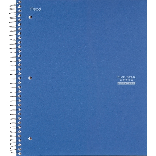 """Five Star® Recycled Wirebound Notebook, 1 Subject, College Ruled, 11"""" x 8-1/2"""", Assorted Colors (06148)"""