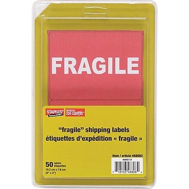 Staples® - Étiquettes d'expédition FRAGILE, paq./50