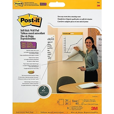 Post-it® – Tablettes murales autocollantes recyclées, 20 x 23 po, paq./2
