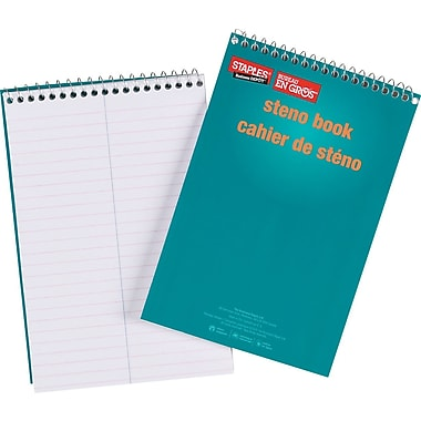 Staples® – Cahiers de sténo, 6 po x 9 po, 120 pages, paq./10