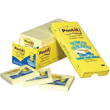 Post-it® - Feuillets jaune canari en éventail, paquet Cabinet, 3 po x 3 po, paq./18 blocs