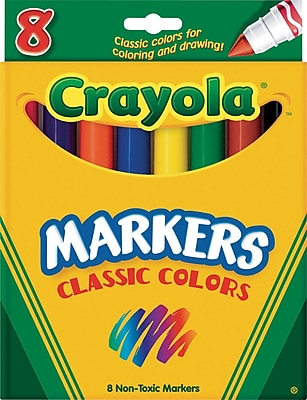 Crayola® Classic Regular Markers, Broad Line, Assorted Colors, 8/Box