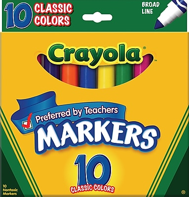 Crayola® Classic Markers, Broad Line, 10/Box