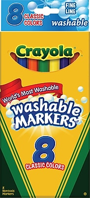 Crayola® Classic Washable Markers, Fine Point, Assorted Colors, 8/Box