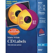 Avery 8692 Permanent Inkjet CD Labels, 40 Disc/80 Spine Labels, White Matte, 120/Pack (08692/08212)