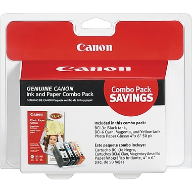 Canon BCI-3eBK Black and BCI-6 C/M/Y Color Ink Cartridge & Photo Glossy Paper (4479A292), Combo 4/Pack