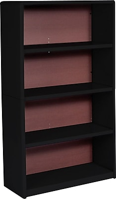 Safco Value Mate Baked Enamel Finish on Steel Bookcase, Black, 4-Shelf, 54