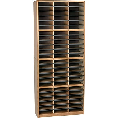Safco® Light-Duty Value Sorter Literature Organizer with steel shell, 72 Compartment, Medium Oak