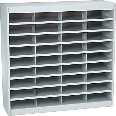Safco® Steel E-Z Stor® Literature Organizers, 36 Slots, Letter Size, Grey, 36-1/2Hx37-1/2Wx12-3/4