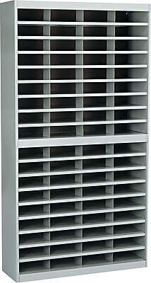 Safco® Steel E-Z Stor® Literature Organizers, 72 Slots, Letter Size, Grey, 71Hx37-1/2Wx12-3/4