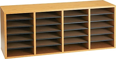 Safco® Adjustable Compartment Literature Organizers in Oak, 24 Shelves, 16-3/8Hx39-3/8Wx11-3/4
