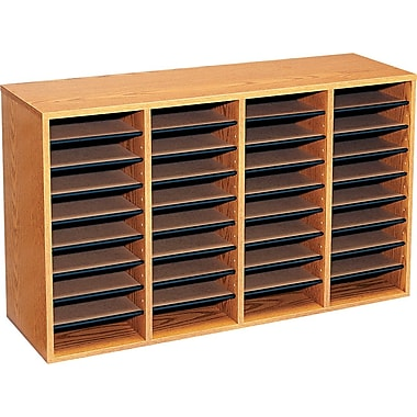 Safco® Adjustable Wood Literature Organizer, 36 Compartment, 39 1/4