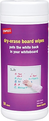 Staples® Whiteboard Dry-Erase Cleaning Wipes, 50/Pk