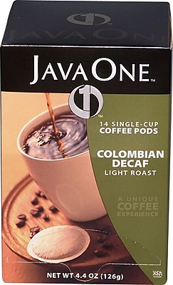 Java One® Single Cup Colombian Ground Coffee, Decaffeinated, .3 oz., 14 Pods
