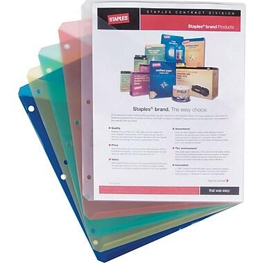 Staples® Poly 2-Pocket Slash Jackets, Letter Size, Assorted Colors, 5/Pack