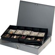 """MMF Industries™ STEELMASTER® Cash Box with Ten-Compartment Tray, Gray, 2 1/4""""H x 15 3/8""""W x 10 1/2""""D"""